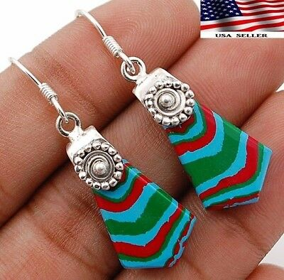 """Rainbow Calsilica 925 Solid Sterling Silver Earrings Jewelry 1 7/8"""" Long A5-6"""