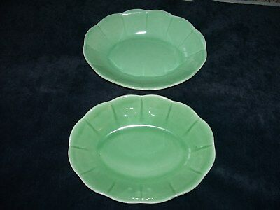 LOT OF 2 VINTAGE W. S. GEORGE 'PETAL WARE' GREEN SERVING BOWLS DISHES 9x7 INCHES