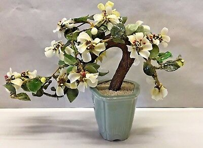 Vintage Asian Jade Chinese Bonsai tree Flower Celadon Jadeite stone Oriental