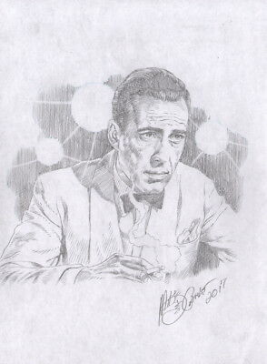 Mike DeCarlo Signed Casablanca Original Art Sketch ~ Humphrey Bogart as Rick