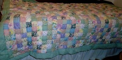 Vintage Hand Made Twin Quilt~ 62X84 Wonderful Cotton  Heavyeight Multi Color