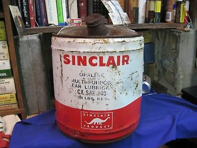 Sinclair Motor Oil Can 5 Us Gallon Gas Tin Filling Station Vintage Original