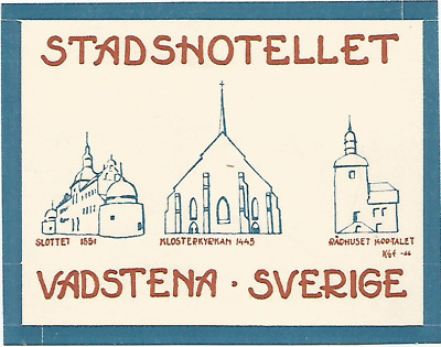 HOTEL STADSHOTELLET luggage SWEDEN label (VADSTENA)
