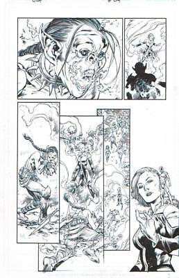 Ivan Reis Jla Justice League Rebirth Orig. Ink Art-Killer Frost, Atom, Death Bat