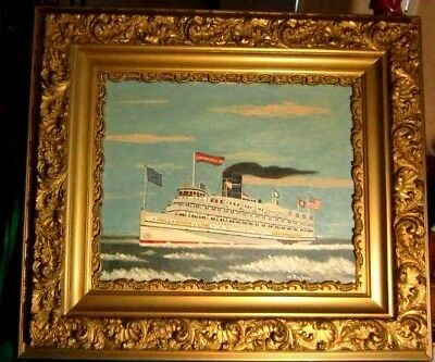 Fall River Line Steamship Commonwealth  signed  W. Dupius  Oil Painting  1982