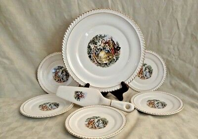 Godey Prints by Harker Gadroon Shape Colonial People Center 7 piece Dessert Set