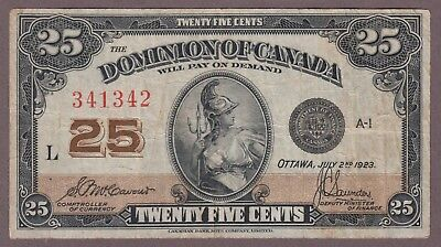1923 25 Cents Shinplaster - McCavour Saunders - Dominion of Canada - B844