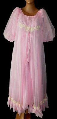 FABULOUS Vintage NOS JENELLE Hollywood Glam Nightgown Chiffon Peignoir Set