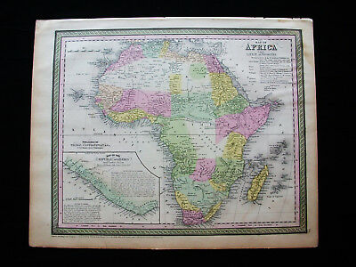 1855 DESILVER & MITCHELL - rare Map of AFRICA, EGYPT, MADAGASCAR CONGO CAPE TOWN
