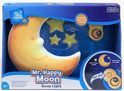Uncle Milton 2341 In My Room Mr Happy MOON Stars Bedroom Wall LIGHT with Sounds