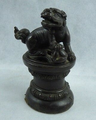 Chinese Antique Bronze Foo Dog Scroll weight Incense Burner 17th/18th Cent Ming