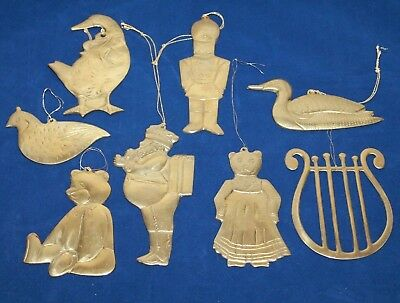 Lot of 8 - Vintage Brass Christmas Ornaments - Thick Brass - Nice