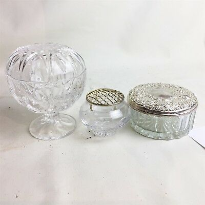 Antique Lead Crystal Glass Lidded Dish Bowl & Rose Vase & Mirror Dressing Table