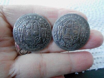 Antique/vintage Pair Of Handsome Coin Style Buttons/ English?  #574
