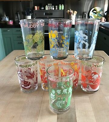 8 Vintage~ Archie, Warner Brothers Comics Collectors Jelly Jar Glasses-Early 70s