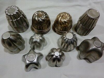 VTG Lot 54 Various Aluminum Pastry Tart Muffin Pudding Molds 2 Marked Jello