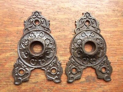 Two Antique Fancy Ornate Iron Victorian Eastlake Triangular Doorplates c1885