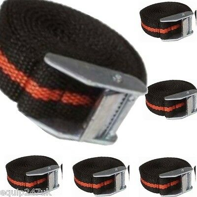 6 x Luggage Straps 2500MM Long Cam Buckle Tie Down Straps Black & Red