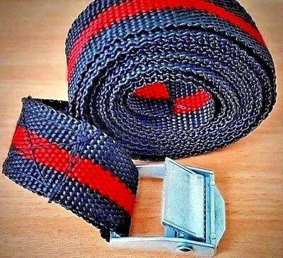 4 Black & Red Cam Buckle Tie Down Straps Luggage Rack Trailers 25 X 2500 Mm Long