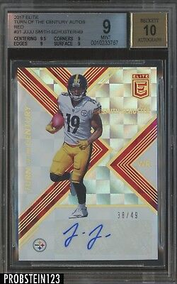 2017 Elite Turn of The Century Red Juju Smith-Schuster Steelers AUTO /49 BGS 9
