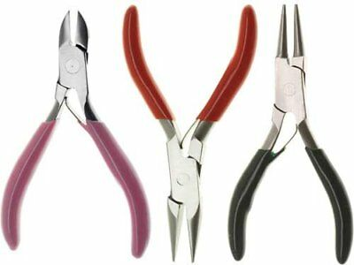 3pc Jewelers & Beading Mini Pliers Set Diagonal Cutter Long Nose & Round Nose