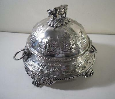 An Ornate Antique Silver Butter Dish w. Mounted Cow & Milk Glass Liner: c1880