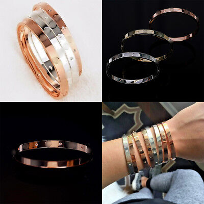 Elegant Love Bangle Embossed Bracelet Rose Gold Bangle Crystal Cuff Party Prom