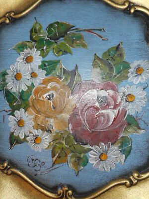 GERMAN Hand Painted Floral Wooden Wood Tray w/Golden Scrolls!