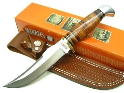 MARBLES Brown Leather SKINNER Straight Fixed Blade HUNTING Knife +Sheath! MR397