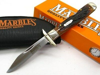 MARBLES Stag Bone Folding GUARD LOCKBACK Straight Folder Knife + Pouch MR109 New