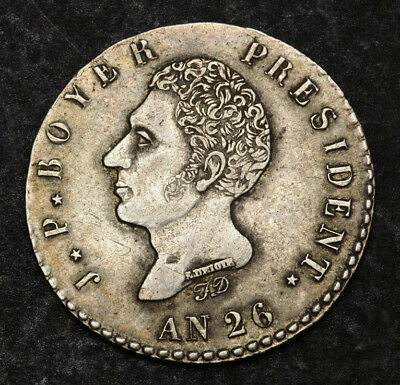 1829, Haiti(Republic), Jean-Pierre Boyer. Large Silver 100 Centimes Coin. XF-AU!