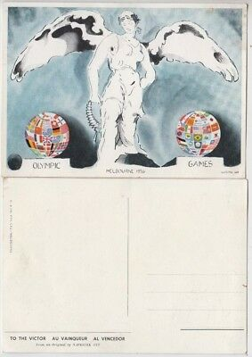 """Olympic Games 1956 Melbourne Australia postcard """"To The Victor"""" by O & Co P/L"""