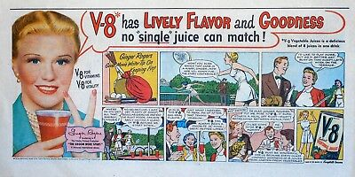 Ginger Rogers - The Groom Wore Spurs - 1951 V-8 Juice color Sunday comic ad page