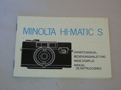 MINOLTA HIMATIC S OWNER'S MANUAL/INSTRUCTION BOOK (same as sold w/camera purch.