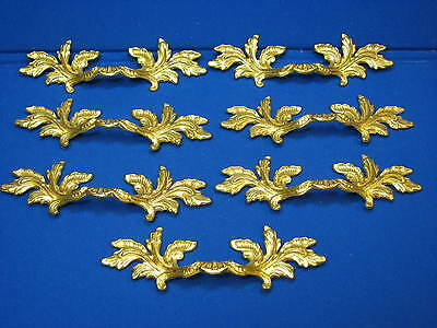 7 Large Brass Drawer Pull Handles Hollywood Regency Vintage Old 10167 Ornate 6 4