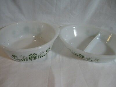 2 Glasbake Green Daisy Dishes 2 Quart Casserole Dish and Divided Dish