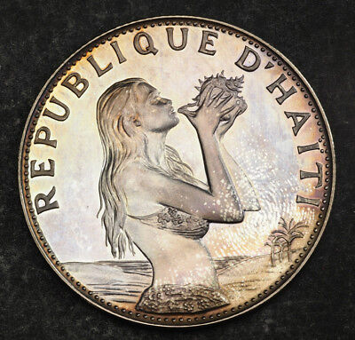 "1973, Haiti. Proof-like Silver 50 Gourdes ""Woman on the Beach"" Coin. 20.34gm!"