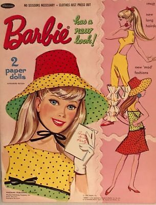 Vintage 1967 Barbie Has New Look Paper Doll ~Rare~Cute~Repro~Org Sz Uncut~Lo Pr