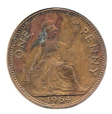 Great Britain 1964 Large One Penny Coin - United Kingdom England Queen Elizabeth
