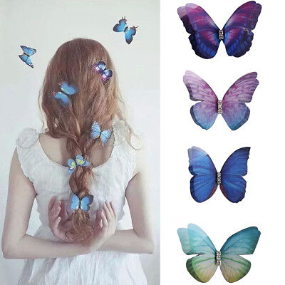 Women Colorful Rhinestone Butterfly Hair Clip Hairpin For Bride Bridesmaid Gifts