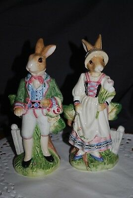 Pair Fitz & Floyd Classics OLD WORLD RABBITS Salt & Pepper Shakers (Retired)