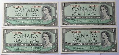 4 Canada 1954 $1 One Dollar Bills - Crisp UNC, Sequential Canadian notes(171955W