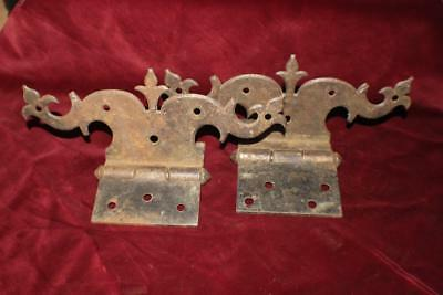 Superb Pair of Ornate Antique Wrought Iron Heavy Door Hinges Early to Mid 1800's