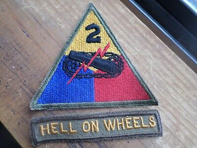 wwii variation tab hell on wheels 2nd armored div division of felt with unusual