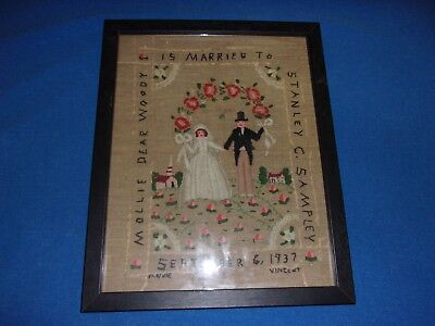 Beautiful Antique Framed 1937 Hand Stitched Wedding Sampler Cruel Work