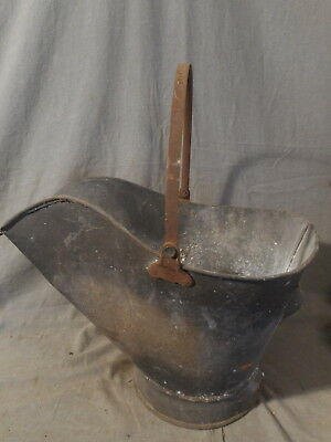 Vintage Fireplace Coal Ash Soot Metal Bucket Pail Handle, Rustic Farm Fire