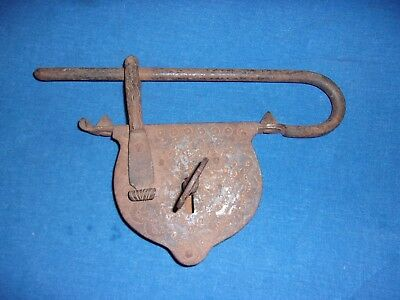 Rare Antique Large Hand Forged Prison Or Gate Lock & Key