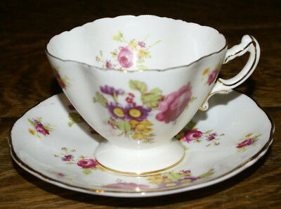 Hammersley Quatrefoil Floral Bone China England Cup and Saucer