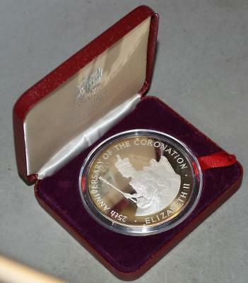 Jamaica 1978 25 Dollars Proof Silver Coin - ASW 4 Ounces - QEII 25th Anniversary