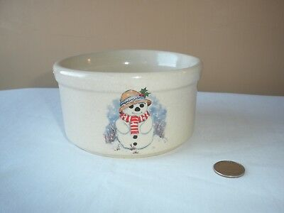 "Snowman Crock Rrp Co. Roseville, Oh 2"" High, Natural Pottery Color, Clean & Nice"